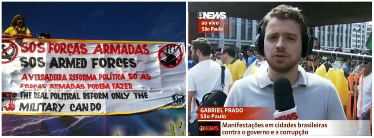 """Cobertura da emissora dos protestos deste domingo não questiona, nem explica o motivo de um número substancialmente menor de pessoas ter ido às ruas, em comparação a março, mas libera o áudio dos protestos pedindo """"fora PT"""" e """"fora Dilma"""" e lê cartazes sobre impeachment; apresentador ignora, porém, cartaz em defesa da """"mídia sob ataque"""" e que pede o golpe militar"""