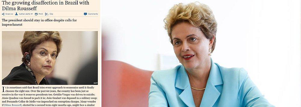 """Jornal britânico, que com frequência dispara contra as ações do governo brasileiro,aponta em editorial as razões pelas quais a presidente está em uma """"posição precária"""", mas avalia que, se Dilma Rousseff deixar o poder, """"provavelmente seria substituída por um outro político medíocre"""""""