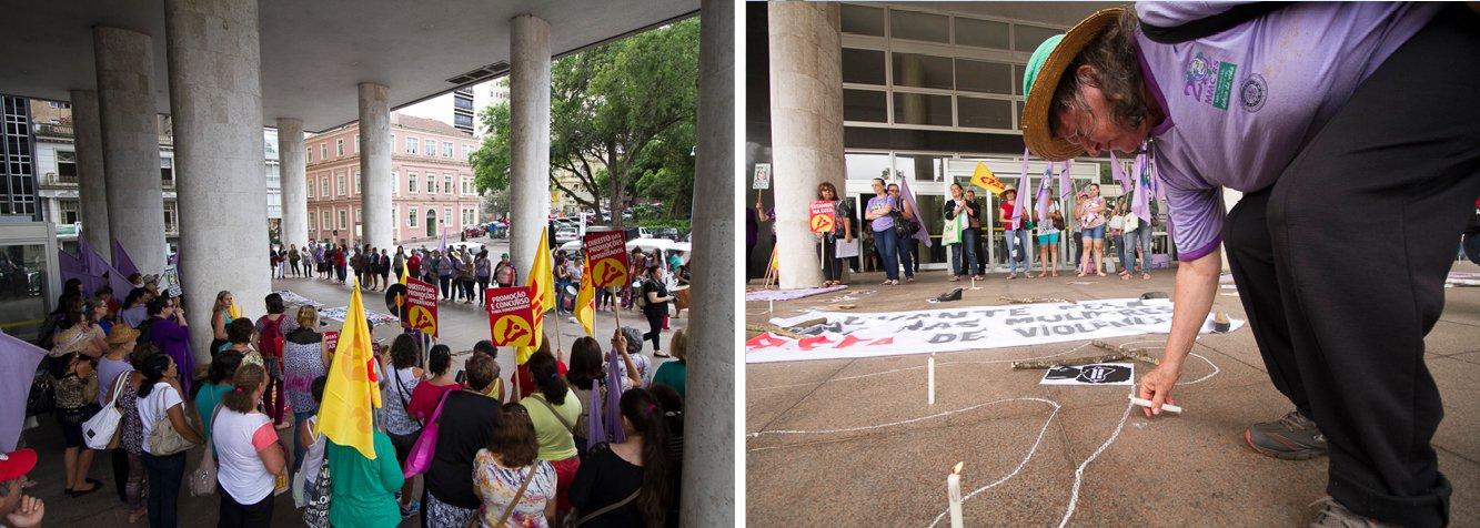 Camponesas e mulheres urbanas de todo o país se uniram em luta para avançar em pautas comuns; no Rio Grande do Sul, 800 camponesas do MST e do Movimento dos Atingidos por Barragens (MAB) ocuparam a sede da multinacional israelense Adama e da empresa com beneficiamento de madeira Duratex, em Taquari; em Porto Alegre, a Via Campesina, o Sindicato dos Professores do RS (Cpers/Sindicato) e o Levante da Juventude lideraram protesto em frente ao Palácio da Justiça