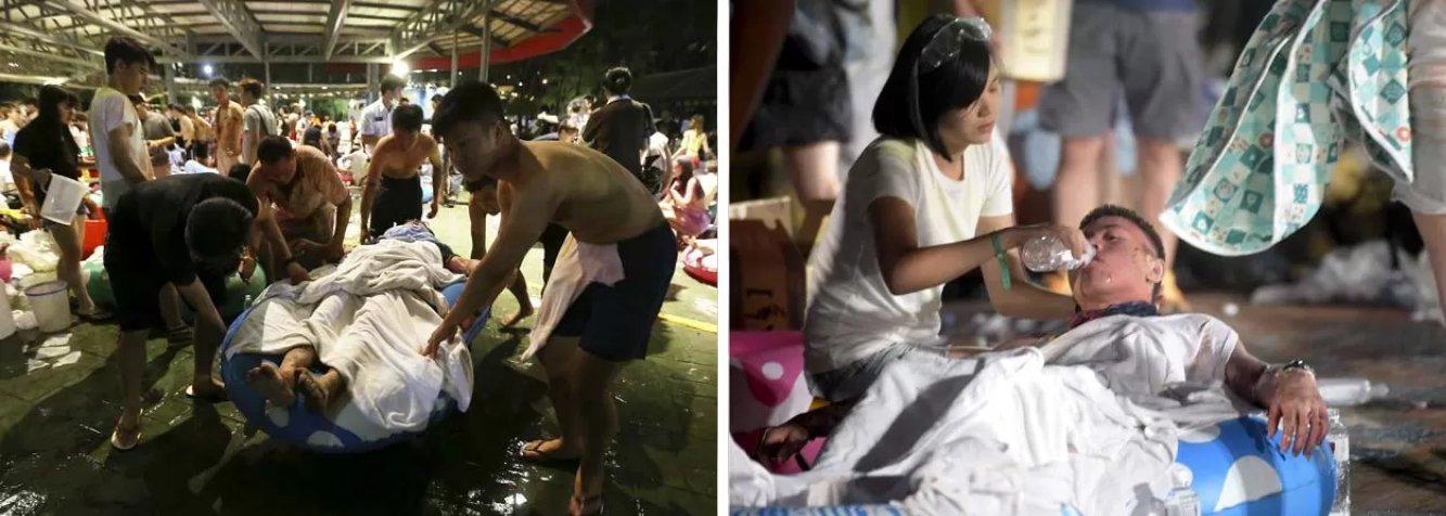 """Mais de 200 pessoas ficaram feridas numa explosão neste sábado em um parque de diversões na capital de Taiwan, Taipei; de acordo com responsáveis pelo estabelecimento, o acidente aconteceu depois que um pó colorido inflamável foi lançado sobre a multidão; entre os feridos, 81 estão em estado grave; """"O que pensamos por enquanto é que a explosão e o fogo foram causado pelo pó vaporizado. Pode ter sido devido ao calor das luzes no palco"""", disse um porta-voz dos bombeiros da cidade de New Taipei"""