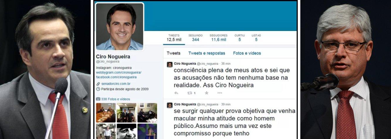 """O presidente nacional do PP, senador Ciro Nogueira (PI), disse, por meio de sua conta pessoal no Twitter, que renunciará a mandato caso apareça alguma prova contra durante as investigações da Operação lava Jato da Polícia Federal, que investiga um esquema de corrupção na Petrobras; """"Renunciarei ao mandato de Senador da República se surgir qualquer prova objetiva que venha macular minha atitude como homem público"""", postou"""