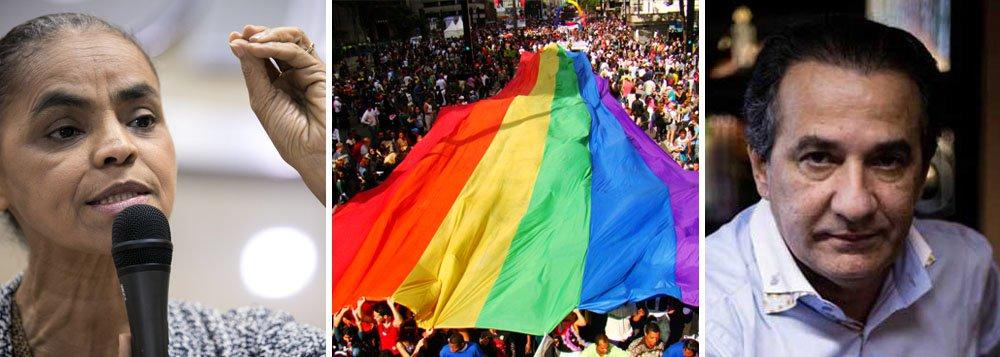 """Menos de 24 horas depois de divulgar seu programa de governo, que contemplava a defesa dos direitos do público LGBT, Marina Silva volta atrás e solta nota para explicar que não era bem assim; o motivo foi a reação irada de Silas Malafaia, evangélico como Marina, que disse que o programa da candidata do PSB conseguia ser """"pior do que o de PT e PSDB""""; """"O texto do capítulo """"LGBT"""", do eixo """"Cidadania e Identidades"""", do Programa de Governo da Coligação Unidos pelo Brasil, que chegou ao conhecimento do público até o momento, infelizmente, não retrata com fidelidade os resultados do processo de discussão sobre o tema durante as etapas de formulação do plano de governo"""", diz a nota divulgada por Marina"""