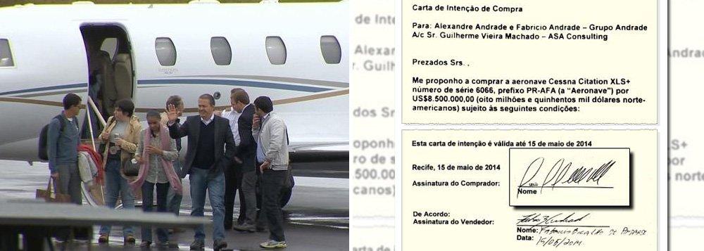 """Assinatura do novo proprietário aparece ilegível no contrato de compra do jato da Cessna, usado pela campanha do PSB e que caiu com o ex-governador de Pernambuco Eduardo Campos; negócio firmado em 15 de maio de 2014, por US$ 8,5 milhões, também não foi registrado em cartório;inquérito da Polícia Federal apura que o Citation PR-AFA foi objeto de pagamentos à usina AF Andrade por seis CNPJs, em 16 transferências;Marina Silva também viajou na aeronave, mas seu vice,Beto Albuquerque (PSB-RS), insiste em dizer que as suspeitas """"não são problema"""" do partido;advogados apontam ilegalidade num contrato sem comprador identificado"""