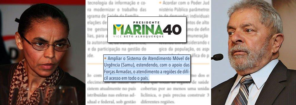 """Plano de governo de Marina Silva é uma sequência de imitações; candidata do PSB também reproduziu, na íntegra, três propostas de Lula para a saúde em 2006; em um dos textos copiados, promete """"ampliar o Sistema de Atendimento Móvel de Urgência (Samu), estendendo, com o apoio das Forças Armadas, o atendimento a regiões de difícil acesso""""; o texto também aproveita trechos de um discurso feito por ela há mais de quatro anos, em Nova York; outras acusações foram de plágio de trechos inteiros do capítulo """"Educação, cultura e ciência, Tecnologia e Inovação"""" de um artigo da USP sem citar a fonte e o autor; e ainda de parte do Programa Nacional de Direitos Humanos (PNDH), lançado por FHC em 2002"""