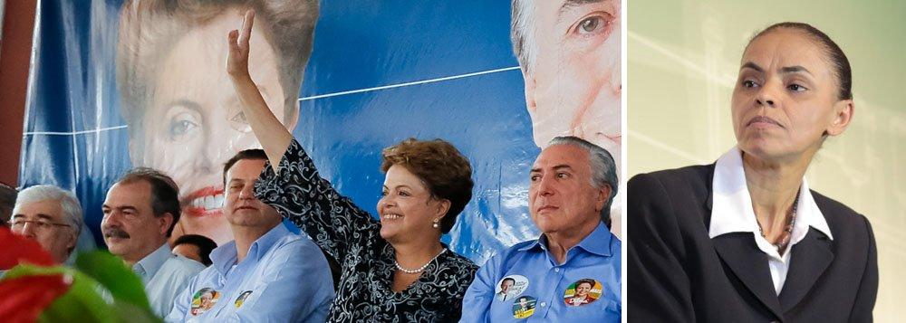 """Em evento de campanha em Jales (SP), a presidente Dilma Rousseff mandou mais um recado a Marina Silva, candidata do PSB, embora não tenha citado seu nome; a petista criticou """"aqueles que pretendem governar prescindindo dos partidos políticos""""; ao lado de seu vice, Michel Temer e do candidato do PMDB ao governo de São Paulo, Paulo Skaf, ela exaltou a aliança com os peemedebistas, disse que a legenda é """"o partido da democracia"""", e alfinetou Marina; """"Numa democracia, quem não governa com partidos está flertando com o autoritarismo. No mundo, não há um único lugar que se governa sem partidos"""""""
