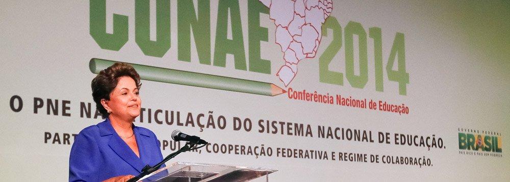 Brasília - DF, 20/11/2014. Presidenta Dilma Rousseff durante Conferência Nacional de Educação (CONAE 2014). Foto: Roberto Stuckert Filho/PR