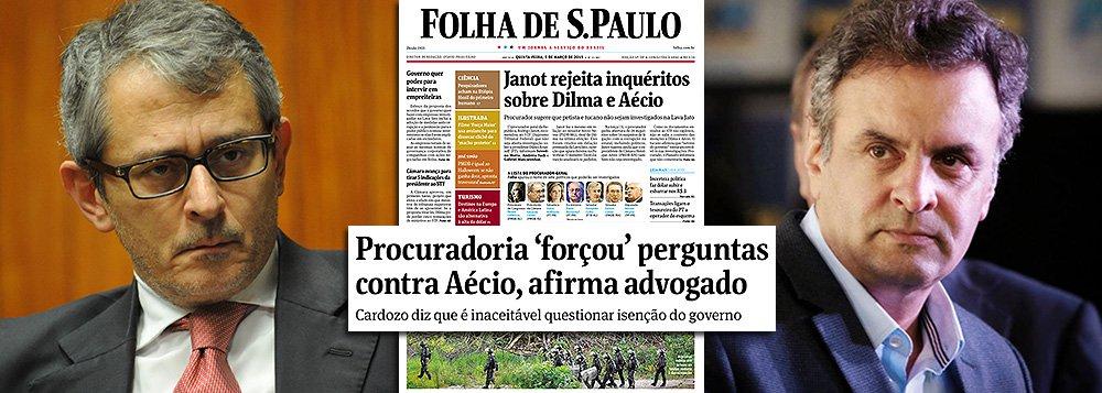 O jornal de Otávio Frias Filho foi o primeiro a noticiar que o senador Aécio Neves (PSDB-MG) não estava na lista; logo em seguida, igualou as situações do tucano e da presidente Dilma Rousseff, manchetando que ambos os casos seriam arquivados (o que é falso, uma vez que não havia pedido de investigação contra Dilma); depois, ignorou as informações trazidas pelo Estado de S. Paulo sobre o motivo da citação ao tucano; na edição de hoje, publica ainda que o advogado Antonio Carlos Almeida Castro, o Kakay, diz que a inclusão do nome de Aécio teria sido forçada pelos investigadores, sem informar aos leitores que ele representa o senador mineiro; blindagem?