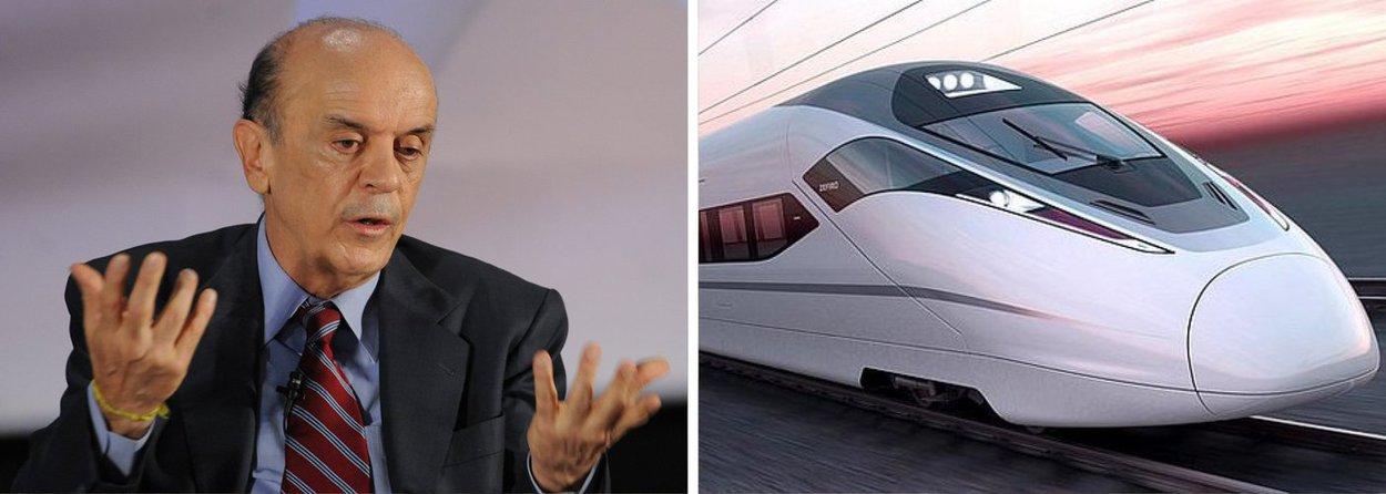 """Senador eleito por São Paulo, José Serra (PSDB), fez ontem uma confissão grave; ele afirmou para uma plateia de simpatizantes ao PSDB que inseriu Campinas no projeto do trem-bala, para atrasá-lo; Serra disse considerar """"hilariante"""" a proposta do projeto do trem-bala, que ligaria São Paulo, Rio de Janeiro e Campinas; para o tucano, o projeto é """"falido""""; Serra fez a alteração quando era governador de São Paulo"""