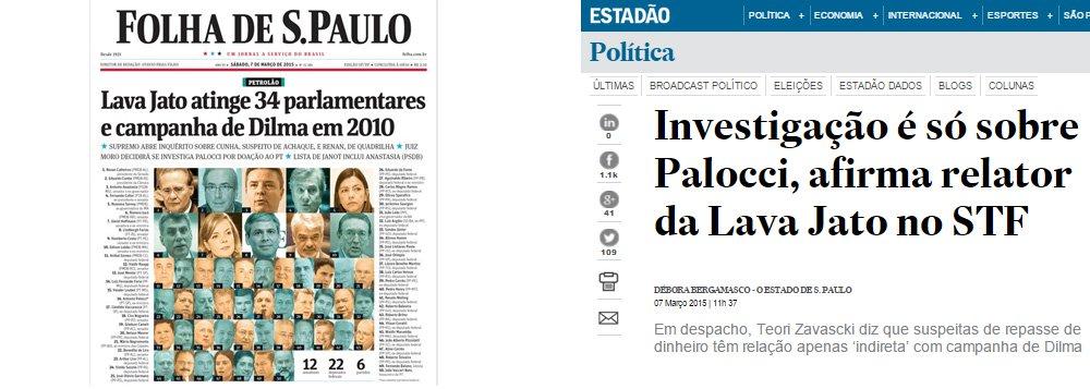 """Eduardo Guimarães, do Blog da Cidadania, contesta manchete da Folha, que tenta criminalizar a campanha da presidente Dilma Rousseff, em 2010; segundo informou o ministro Teori Zavascki, investigação atinge apenas o ex-ministro Antonio Palocci, conforme registrou o Estado de S. Paulo; """"Não chegaremos ao exagero de dizer que o jornalismo do Estadão é menos salafrário do que o da Folha, ou menos partidarizado. O Estadão, porém, apesar de todas as mentiras e distorções dos fatos que pública, parece ter um limite para sua falta de vergonha"""", diz ele"""