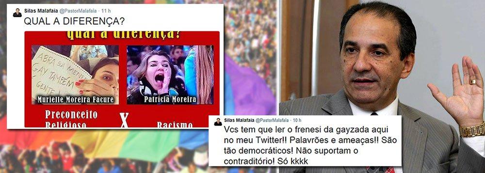 """Em seu perfil no Twitter, pastor Silas Malafaia relacionou a imagem de Murielle Facure, em um avião ao lado do pastor ironizando seu posicionamento contra o casamento de homossexuais, a da torcedora do Grêmio Patrícia Moreira, que xingou o goleiro Aranha, do Santos, de """"macaco""""; escreveu em seguida para seus seguidores: """"Vcs tem que ler o frenesi da gayzada aqui no meu Twitter!! Palavrões e ameaças!! São tão democráticos! Não suportam o contraditório!"""""""