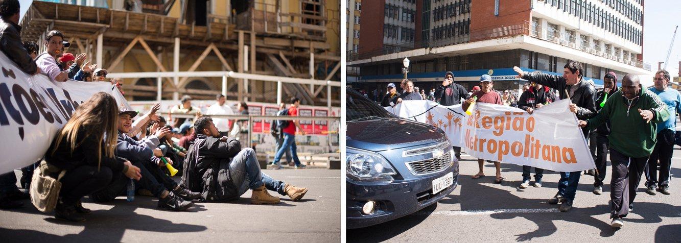 Moradores de diversas ocupações de Porto Alegre protestaram pedindo o fim dos despejos e diálogo com a Prefeitura, trancando a esquina de duas avenidas por três horas; a mobilização foi planejada após a reintegração de posse da ocupação Dois Irmãos, na semana passada, e reivindicou principalmente a suspensão do despejo de área ocupada próximo à Hípica, na zona Sul da cidade