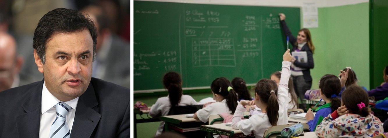 """Em nota, assessoria de imprensa do candidato diz que liderança do estado de Minas Gerais no índice da educação básica divulgado hoje pelo governo federal """"reforça suspeita de que o Ministério da Educação atrasou a divulgação do resultado tradicionalmente feito no início do segundo semestre, devido ao calendário eleitoral""""; números apontam melhor pontuação para as escolas públicas de Minas no ensino fundamental; """"Dados são particularmente especiais para mim"""", comentou Aécio, que governou o estado"""