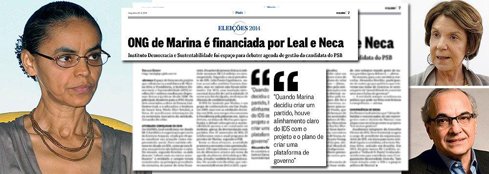 Acionistas do Itaú e da Natura, Neca Setubal e Guilherme Leal bancaram praticamente todos os custos do Instituto Democracia e Sustentabilidade, criado por Marina Silva; ambos deram R$ 6,8 milhões, em cotas idênticas de R$ 3,4 milhões, dos R$ 7 milhões arrecadados pela entidade desde 2010; revelação foi feita pela ex-secretária-executiva da ONG, Alexandra Reschke, ao jornalista Thiago Herdy, do jornal O Globo; tanto o Itaú quanto a Natura foram multados pela Receita Federal durante o governo Dilma; o banco em R$ 18,7 bilhões e a produtora de cosméticos em R$ 628 milhões; Neca, que fala em nome da candidata sobre temas como a independência do Banco Central, também doou mais R$ 1 milhão para outra entidade criada pela ex-senadora, o Instituto Marina Silva