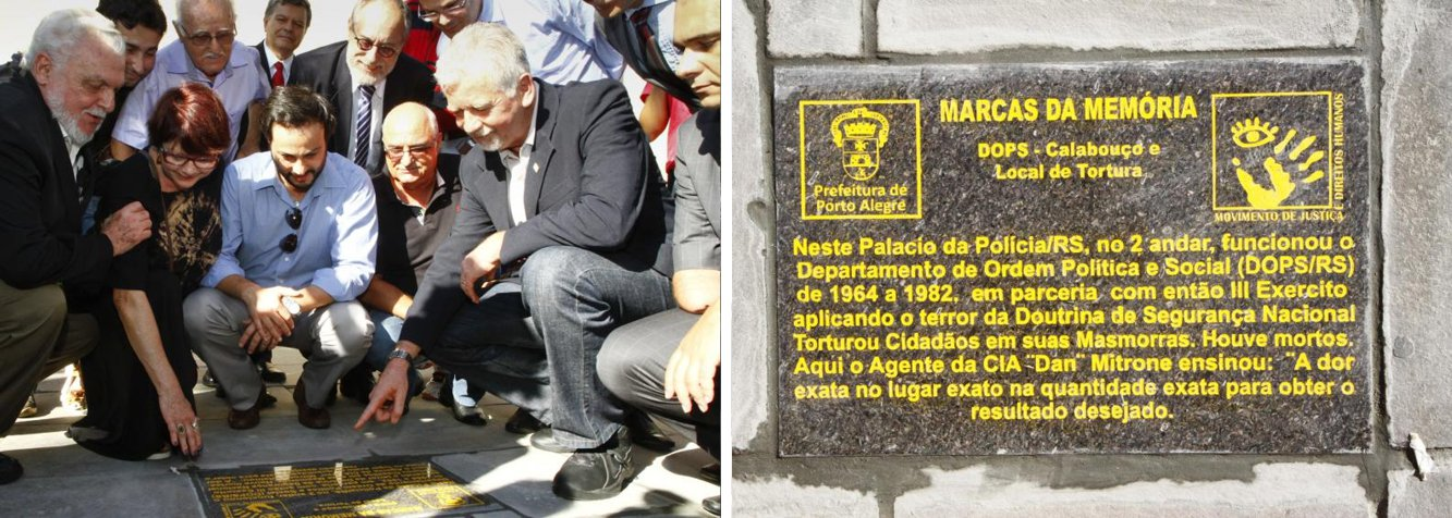 """Mais uma marca da ditadura foi afixada em calçadas de Porto Alegre nesta quarta (1º);o Palácio da Polícia, onde presos políticos foram torturados durante o regime militar, recebeu uma placa sinalizando que ali, no segundo andar, houve tortura e homicídios nas salas onde funcionaram oDops/RS; """"As lembranças da ditadura atormentam a todos, e o esquecimento pode trazer o golpe de volta. Este ato é uma forma de sacramentar o desejo de democracia plena, de liberdade de expressão, informação e organização"""", disse o prefeito José Fortunati; essa foi a terceira placa afixada na Capital; estão previstas outras 15 placas"""