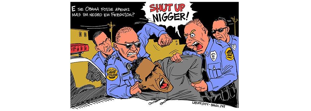 Cartunista Carlos Latuff retrata o caso de racismo em Ferguson, nos EUA; milhares saíram às ruas após decisão que inocentou o policial branco responsável pela morte de um jovem negro no estado do Missouri