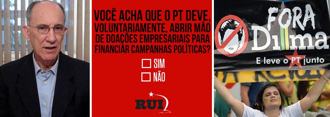 """Presidente da legenda, Rui Falcão,defendeu hoje pelo Facebook que o PT abra mãodas doações privadas de campanha e lançou uma enquete sobre o tema; """"O PT defende o fim do financiamento empresarial de campanha. Eu defendo que nosso partido precisa abrir mão, VOLUNTARIAMENTE, desse tipo de contribuição. E você? Concorda comigo?"""", perguntou; ele também criticou mais cedo o que chamou de """"despolitização generalizada"""" dos manifestantes que foram às ruas no último domingo, ao mencionar pesquisa que apontou que """"42% disseram acreditar que o Partido dos Trabalhadores trouxe ao Brasil 50 mil haitianos para que votassem em Dilma Rousseff em 2014""""; """"Gente!?"""", escreveu, incrédulo"""