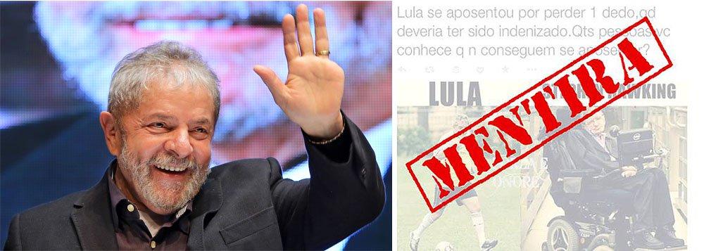 """Diante de mentiras que vêm sendo disseminadas pela internet, o ex-presidente Lula se viu forçado, mais uma vez, a negar que tenha sido aposentado por invalidez, quando perdeu um dedo num acidente ocorrido em 1964; """"Quem recebe aposentadoria por invalidez não pode trabalhar e receber salários. Lula não deixou de trabalhar. Se a história fosse verdadeira, ele não poderia ter continuado sua atividade como metalúrgico, depois dirigente sindical e muito menos cumprir seus mandatos de deputado e de presidente da República"""", diz a nota divulgada pelo Instituto Lula neste domingo"""