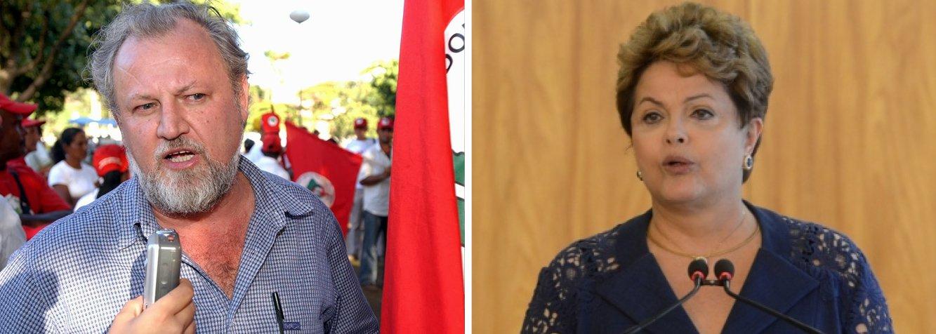 """O líder do Movimento dos Sem Terra, João Pedro Stedile, pediu nesta sexta (13), em manifestação no centro do Rio, que a presidente Dilma Rousseff """"saia do Palácio"""" para ouvir os trabalhadores; ele também afirmou que não aceita """"infiltração de capitalistas"""" no governo federal; """"Já chega de infiltração de capitalista no governo. Não aceitamos a infiltração de um tal de Levy"""", disse ele em referência ao ministro da Fazenda; """"Não podemos fazer ajuste às custas do trabalhador. A crise que o Brasil vive é culpa dos capitalistas. Não aceitamos a redução do direito da classe trabalhadora. Dilma, saia do palácio e venha para rua ouvir os trabalhadores"""", defendeu"""