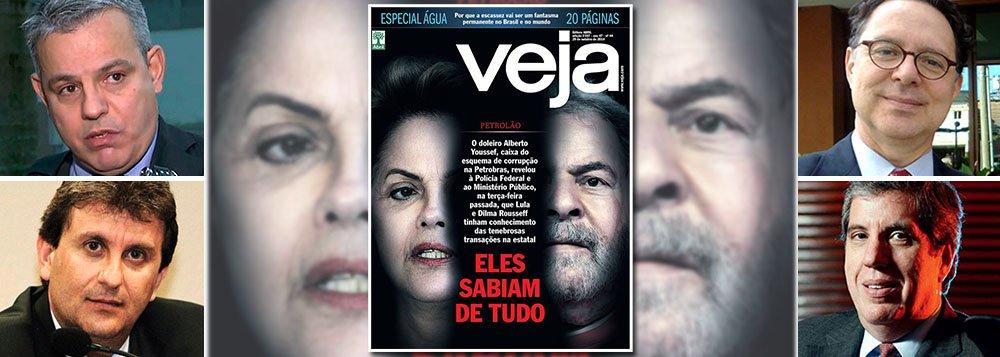 """O advogado Antonio Figueiredo Basto, que comanda a defesa do doleiro Alberto Youssef, afirma que desconhece o depoimento de seu cliente que ancora a capa de Veja, publicada ontem, em edição extra;""""Eu nunca ouvi nada que confirmasse isso (que Lula e Dilma sabiam do esquema de corrupção na Petrobras). Não conheço esse depoimento, não conheço o teor dele. Estou surpreso"""", afirmou; """"Estamos perplexos e desconhecemos o que está acontecendo""""; tentativa de golpe contra a democracia é manobra da revista conduzida pelo jornalista Eurípedes Alcântara e pelo executivo Fábio Barbosa, que comanda a Abril, no lugar dos Civita; jornalismo brasileiro atinge seu momento mais torpe"""