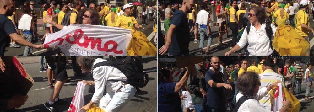 """Vídeo mostra uma cena agressiva no protesto da Avenida Paulista na tarde deste domingo: manifestantes anti-Dilma pisam e tentam arrancar a bandeira das mãos de uma senhora, apoiadora da presidente; outra manifestante pró-Dilma foi empurrada e chamada de """"prostituta"""" no Rio de Janeiro"""
