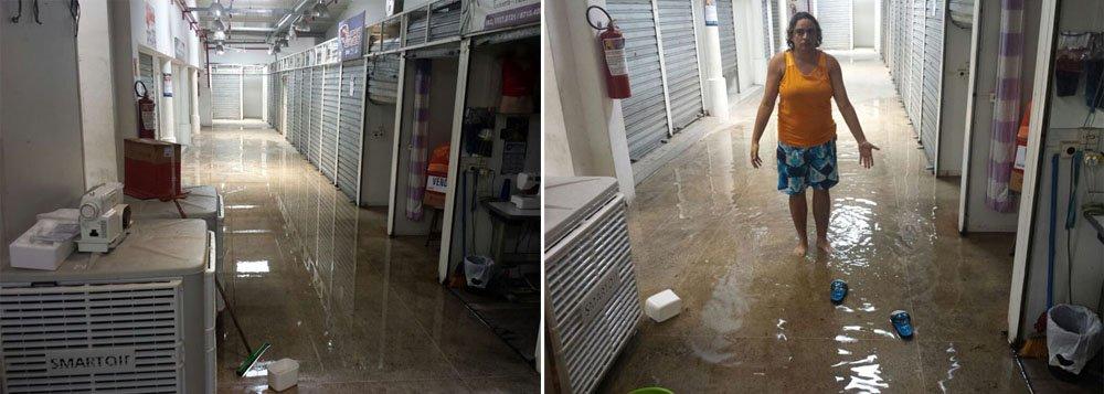 O andar superior do Shopping Popular, situado no Centro de Maceió, está alagado por causa das chuvas; quatro condicionadores de ar que ainda seriam instalados pela prefeitura, e estavam sendo armazenados no chão, ficaram danificados; segundo os comerciantes que trabalham no local, os problemas ocasionados pelas chuvas são constantes