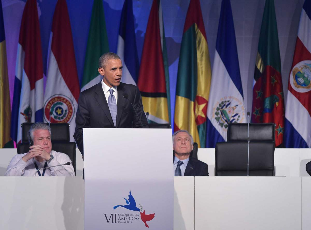 US President Barack Obama speaks at a civil society forum in the sidelines of the Summit of the Americas, at a hotel in Panama City on April 10, 2015. Obama told a forum of Latin American civil society members in Panama on Friday that the days of American