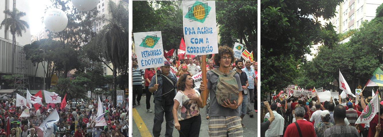 Milhares de manifestantes se reuniram na região centro-sul da capital mineira para protestar em favor da Petrobras; entre os participantes estavam sindicalistas, parlamentares, membros de movimentos sociais e da CUT