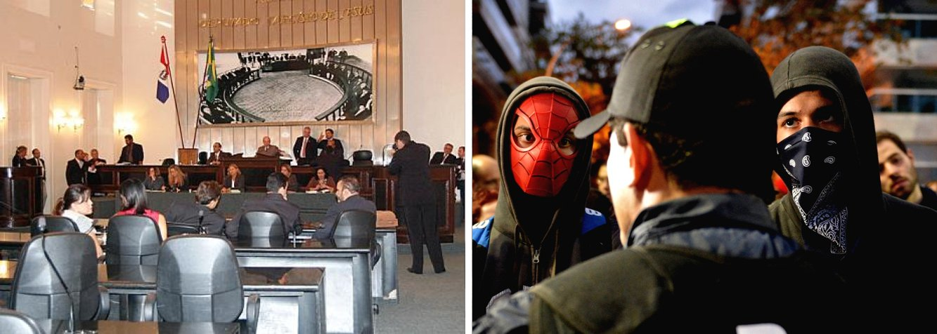 Tramitando na Assembleia Legislativa de Alagoas desde 2013, projeto de lei que proíbe a utilização de máscaras em protestos em Alagoas foi aprovado, medida busca evitar ação de vândalos durante manifestações; demora na votação se deu por ser polêmico, o que provocou muitos embates entre os parlamentares favoráveis e contrários ao projeto