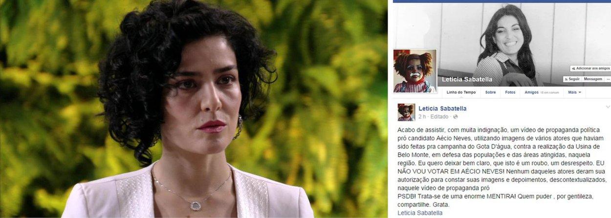 """Atriz Letícia Sabatella reclamou, em seu Facebook, do uso de um vídeo que ela fez para a campanha Gota D'Água na propaganda do tucano Aécio Neves; ela se disse """"indignada"""" com o uso do vídeo pelo candidato do PSDB; """"Quero deixar bem claro que isto é um roubo, um desrespeito. Eu não vou votar neste candidato"""", protestou"""