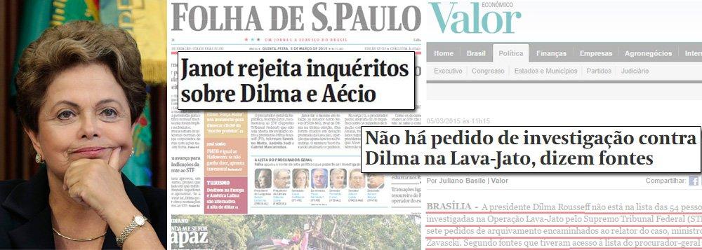 Ao contrário do que estampa a manchete da Folha de S. Paulo desta quinta-feira, 5, o procurador geral da República, Rodrigo Janot, não pediu o arquivamento de investigação contra a presidente Dilma Rousseff; motivo: não havia investigação; o que revela que a situação de Dilma é bem diferente da do senador Aécio Neves (PSDB), que foi citado em delação premiada pelo doleiro Alberto Youssef como sendo supostamente beneficiário de dinheiro de Furnas; Aécio Neves consta na lista que Janot recomenda arquivamento de inquérito ao Supremo Tribunal Federal; já o nome da presidente Dilma não foi remetido ao STF, segundo mostrou o jornal Valor Econômico nesta quinta-feira; observação é de Eduardo Guimarães, do Blog da Cidadania