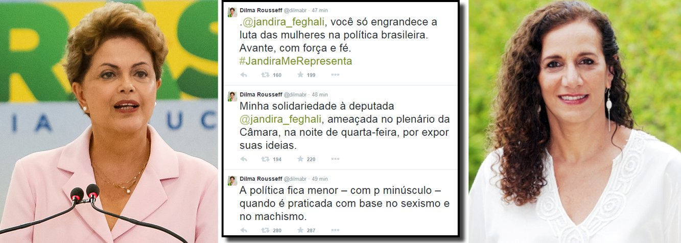 """A presidente Dilma Rousseff usou as redes sociais nesta quinta (7) para defender a deputada federal Jandira Feghali (PC do B/RJ), que foi alvo de agressões dos também deputados federais Alberto Fraga (DEM-DF) e Roberto Freire (PPS-SP); """"A política fica menor – com p minúsculo – quando é praticada com base no sexismo e no machismo. Minha solidariedade à deputada Jandira Feghali, ameaçada no plenário da Câmara, na noite de quarta-feira, por expor suas ideias. Jandira Feghali, você só engrandece a luta das mulheres na política brasileira. Avante, com força e fé. #JandiraMeRepresenta"""", publicou Dilma; Jandira foi empurrada por Freire e destratada verbalmente por Fraga, que disse que """"mulher que participa da política como homem e fala como homem, também tem que apanhar como homem"""""""