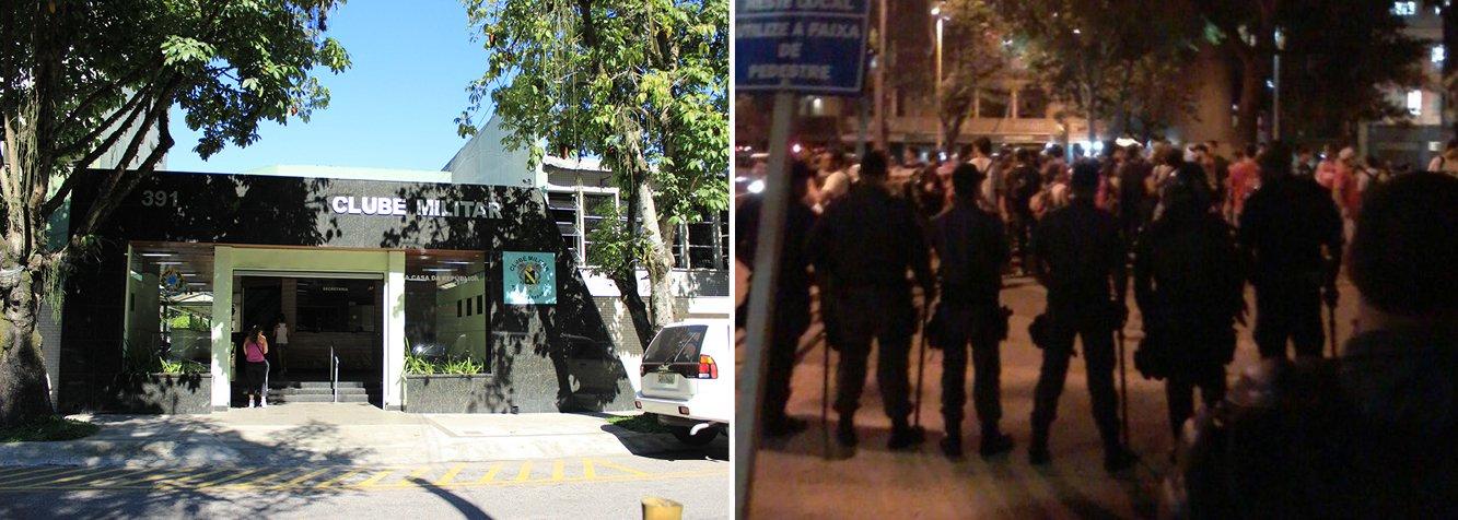 Cerca de 90 manifestantes entraram em confronto com a Polícia Militar (PM) em frente à sede do Clube Militar, no centro do Rio, nesta quarta (1º);ao lembrar os 51 anos do golpe militar de 1964, alguns ativistas arremessaram objetos e um vidro com tinta vermelha na fachada do prédio, que ficou manchada; os policiais que faziam a segurança e acompanhavam o protesto dispersaram os manifestantes a golpes de cassetete; três foram presos