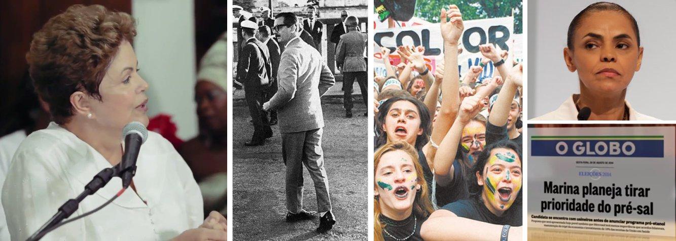 """Programa da presidente Dilma Rousseff investe pesado na desconstrução da candidaturada adversária Marina Silva; seria politicamente frágil; projeção é de que eventual governo da ex-ministra repita um passadopolítico semelhante ao dos governos de Jânio Quadros e Fernando Collor, """"que a gente sabe no que deu""""; mostradas imagens de crise institucional de 1961 e impeachment de 1992; cenas do debate de ontem foram aproveitadas; frisou-se que Dilma disse que """"promessas de Marina custarão 140 bilhões de reais""""; """"Tem de dizer de onde sai o dinheiro"""", criticou Dilma; ex-ministra apresentadacomo adversária do pré-sal; campanha chega a um novo patamar de ataques"""