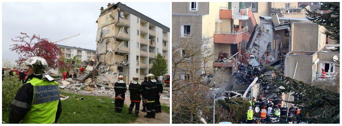 Doze pessoas também estão desaparecidas em Rosny-sous-Bois, nos arredores de Paris;o edifício de quatro andares, que ficava ao lado da estação ferroviária da cidade, veio abaixo depois de se ouvir uma grande explosão, por volta das 5h20 (2h em Brasília)