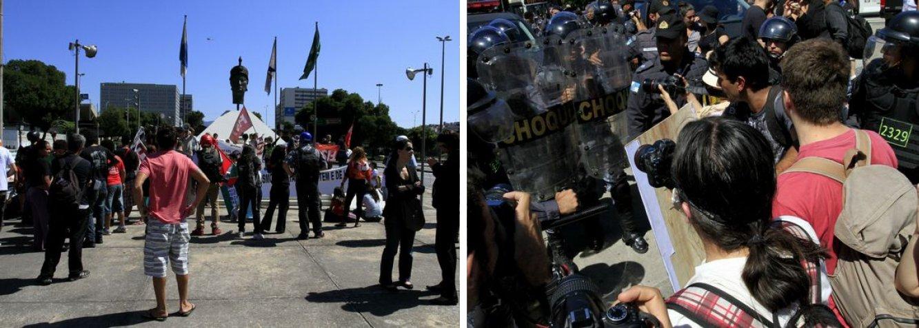 A passeata do Grito dos Excluídos acabou em confronto com policiais, no Centro do Rio de Janeiro, logo após ofim do desfile de 7 de Setembro; queima da bandeira nacionalterminoucom duas prisões; PMs usaram spray de pimenta contra manifestantes