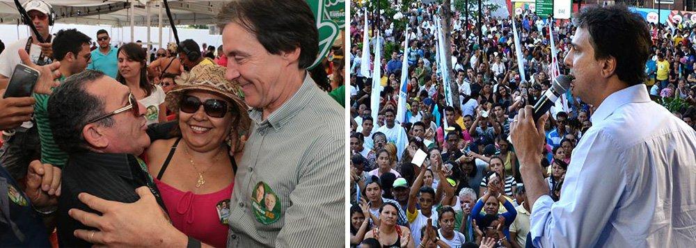 A disputa eleitoral pelo Governo do Ceará pode ir para o segundo turno. Segundo pesquisa Datafolha divulgada nesta quarta-feira (3), Camilo Santana (PT), que é apoiado pelo governador Cid Gomes (Pros) subiu doze pontos percentuais e agora aparece com 31% das intenções de voto; apesar de uma queda de seis pontos, o senador Eunicio Oliveira (PMDB) segue na liderança com 41%; já Eliane Novais (PSB) caiu de 7% para 4% e Ailton Lopes (PSOL) passou de 4% para 2%