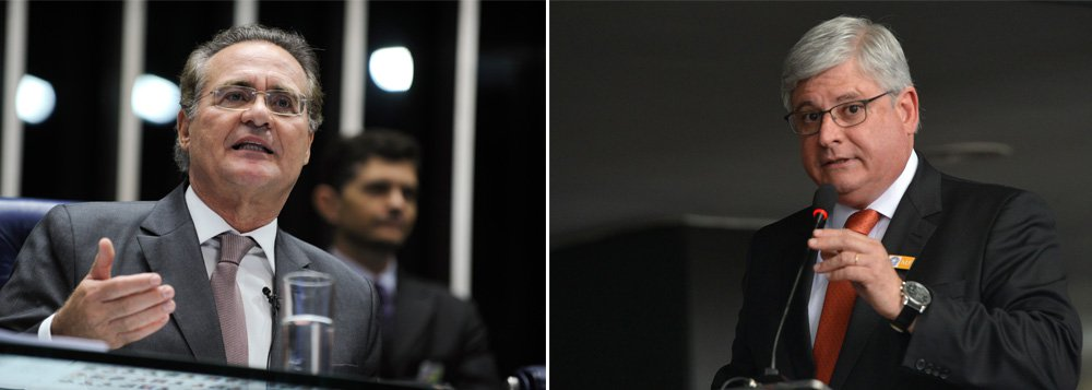"""De acordo com o procurador-geral Rodrigo Janot, o presidente do Congresso, Renan Calheiros (PMDB-AL), teria sido favorecido pela """"realização de doações 'oficiais', devidamente declaradas, pelas construtorasou empresas coligadas, diretamente para os políticosou para o diretório nacional ou estadual do partidorespectivo, as quais, em verdade, consistiam empropinas pagas e disfarçadas do seu real propósito""""; Renan promete reagir e deve propor até uma CPI sobre o MP"""
