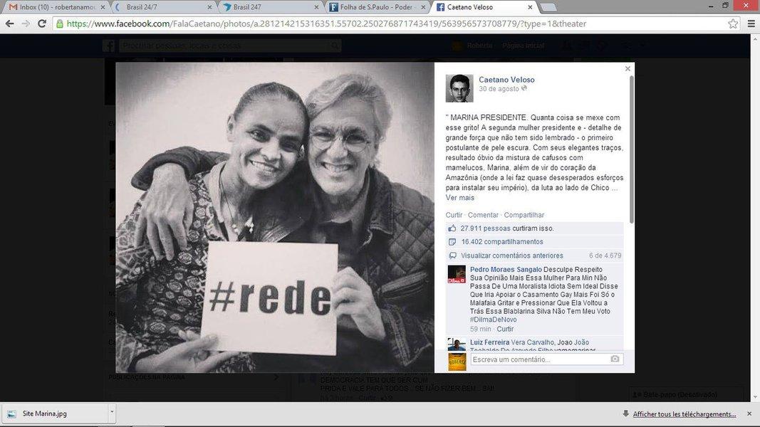 """Compositor Caetano Veloso foi atacado por internautas por post afirmando que sentirá orgulho ao ver o rosto da candidata Marina Silva representando o País: """"Decepção! Admirava Caetano!""""; '""""descurti' Caetano'; """"politicamente zero à esquerda""""; """"Caetano, você é um babaca! Otário revolucionário sem causa nenhuma!"""""""