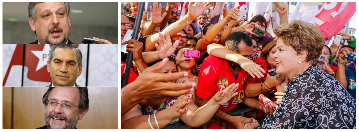 Ministros das Relações Institucionais, Ricardo Berzoini, da Secretaria-Geral da Presidência, Gilberto Carvalho, e do Desenvolvimento Agrário, Miguel Rossetto, devem se afastar do governo para integrar a campanha da presidente Dilma Rousseff; saída deve se dar por meio de licença ou férias, a partir da semana que vem; equipe da candidata à reeleição ganha nomes graúdos do PT depois de Marina Silva ter alcançado Dilma nas pesquisas no primeiro turno; levantamentos apontam vitória da candidata do PSB no segundo turno
