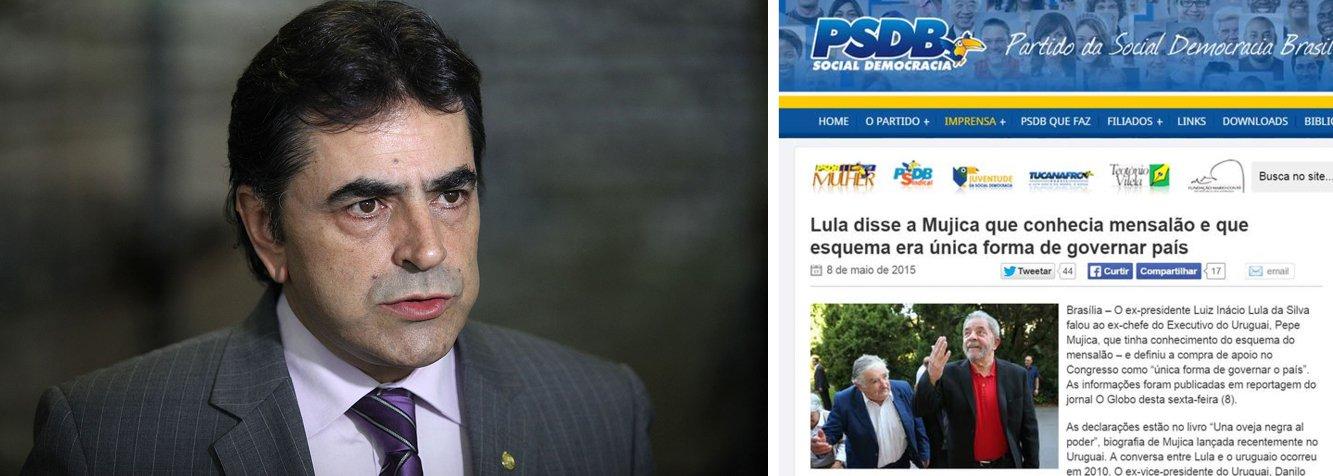 """Site do partido reproduziu a notícia do jornal O Globo que diz que Lula fez uma """"confissão"""" sobre o 'mensalão' ao ex-presidente uruguaio Pepe Mujica; escritor do livro que traz a conversa, porém, negou a associação da declaração de Lula com o escândalo; deputado Domingos Sávio (PSDB-MG) deu seu fora particular ao dizer que as declarações """"comprovam o que todos já desconfiavam: que não seria possível Lula desconhecer a existência do mensalão"""""""