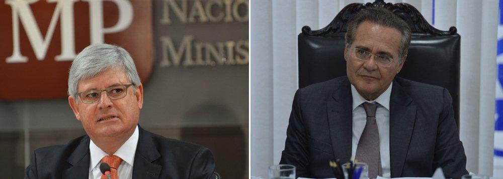 Presidente do Senado, Renan Calheiros (PMDB-AL) articula a criação de uma CPI do Ministério Público Federal (MPF), que pediu a inclusão do parlamentar no rol de investigados na Operação Lava Jato; entre os focos das investigações estariam os encontros entre o procurador-geral da República, Rodrigo Janot (à esq.), e o ministro José Eduardo Cardozo (Justiça), dias antes de a lista ser enviada ao STF; mas o próprio PMDB estaria resistente quanto à instalação da comissão devido à situação delicada vivida pelo senador e por encontros de Janot com vice-presidente da República, Michel Temer, presidente da legenda