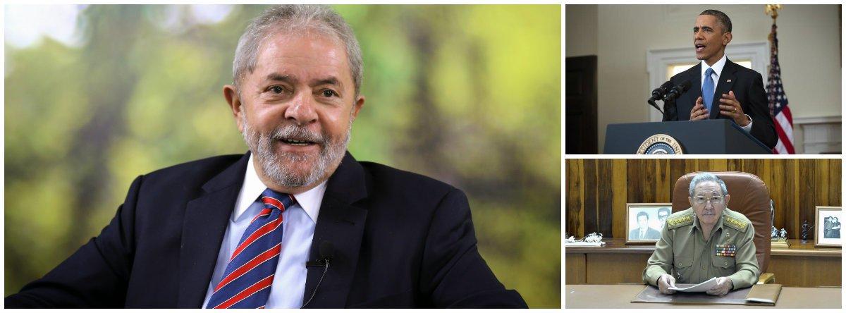 """Ex-presidente Lula divulga vídeo em que defende o reatamento das relações diplomáticas entre EUA e Cuba e diz que espera agora pelo fim do embargo; """"Não havia mais nenhuma razão, não existia mais explicação econômica, política, não existia mais nada. Era apenas uma coisa chamada picuinha"""", disse; segundo ele, o presidente Barack Obama fez um """"gesto importante"""" ao conversar com Raúl Castro; ele ressaltou que o fato serve também para """"aquelas pessoas que têm complexo de vira-lata"""", que dizem que """"o Brasil não pode financiar Cuba, não pode financiar Venezuela""""; petista defende que """"investir no Porto de Mariel foi muito importante e esse é o papel que um país gigante como o Brasil tem que fazer"""""""