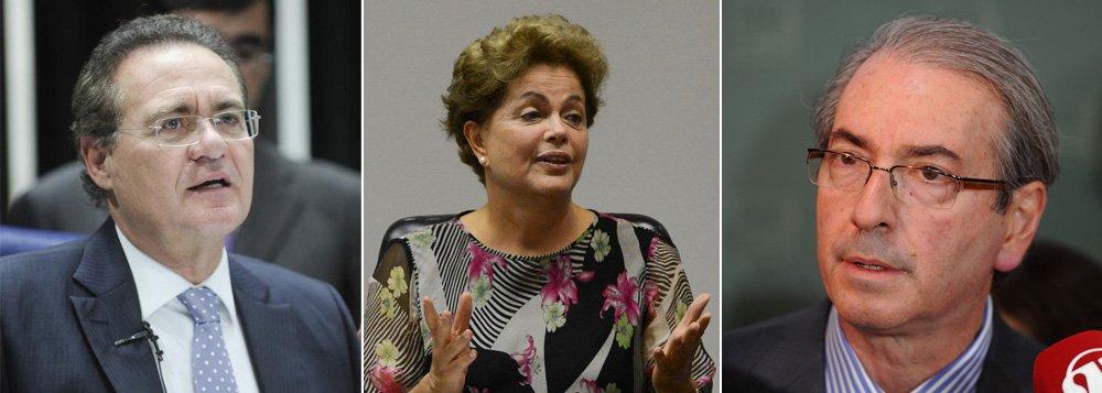 """""""Renan Calheiros e Eduardo Cunha não são réus. Por ora são apenas suspeitos. Nada impede que continuem em seus cargos, embora vá aparecer em breve uma campanha para que renunciem. Em tais cargos, têm poder para ditar a agenda legislativa. Se a relação PMDB/PT piorar, eles podem criar severas dificuldades para o governo, frustrando o ajuste fiscal não apenas com a rejeição de medidas mas aprovando projetos populistas que criam despesas, ampliando o descontrole das contas públicas"""", diz a colunista Tereza Cruvinel; """"ou seja, a crise política agora começa a dar as mãos às dificuldades econômicas para nos levar ao pior dos mundos"""""""
