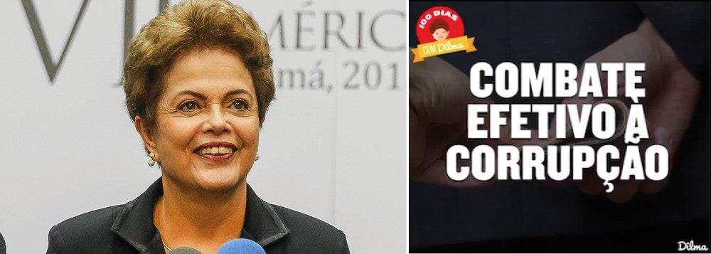 No dia em que várias cidades foram palco de protestos contra o governo, a presidente Dilma Rousseff publicou em sua página no Facebook um texto em que reafirma seu compromisso no combate à corrupção