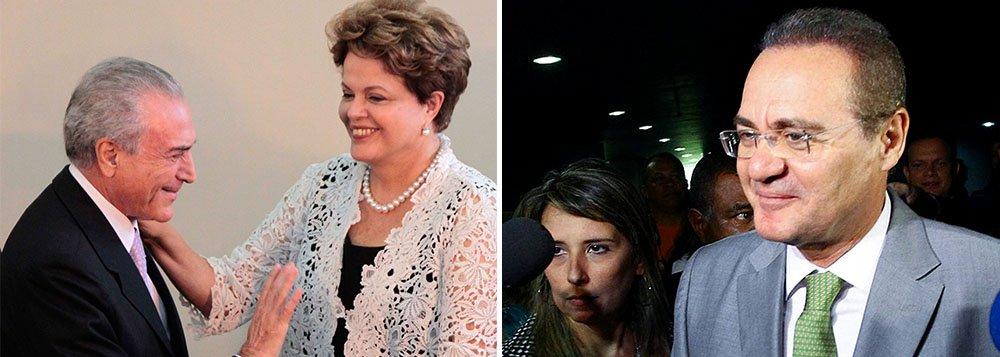 """Presidente do Senado, Renan Calheiros (PMDB), classificou como """"uma demonstração de ousadia"""" da presidente Dilma Rousseff a escolha de Michel Temer para a articulação política, pois """"denota que ela está querendo dar uma virada"""" no relacionamento com os aliados: """"Primeiro na redução do número de ministérios, que é a primeira consequência prática da designação de Michel Temer. Segundo, porque é uma definitiva tentativa de aproximação com o Congresso e de aprimoramento da própria coalizão"""""""