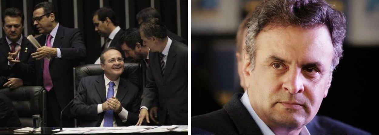 """Em linha com interesse do governo, presidente do Senado decide colocar a voto em plenário, de uma única vez, todos os 38 vetos da presidente Dilma Rousseff; intenção é a de limpar a pauta para poder votar, ainda esta semana, nova regra para o superávit primário; terreno aplainado para nova equipe econômica começar a trabalhar na quinta-feira 25; mas PSDB não gostou; em discurso duro, dirigindo-se a Renan, senador Aécio Neves protestou: """"Está sendo tirado o direito de o Congresso fiscalizar o governo""""; pinga fogo"""