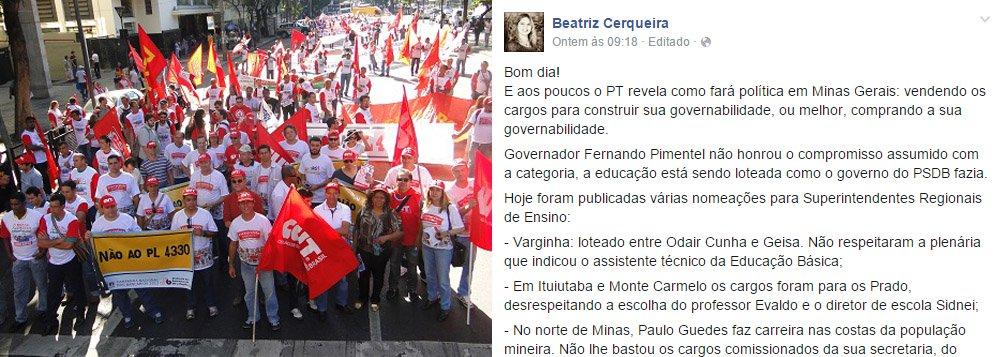 Presidente da CUT em Minas critica nomeações na educação
