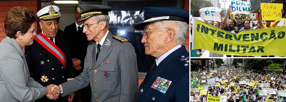 """Os três chefes das Forças Armadas, o almirante Julio Soares de Moura Neto, o general Enzo Peri e o brigadeiro Juniti Saito, falaram à jornalista Monica Bergamo sobre as manifestações radicais que pediram a volta da ditadura e conseguiram atrair até um ex-guerrilheiro que combateu o regime militar como o senador Aloysio Nunes (PSDB-SP); Moura Neto falou em militares """"inseridos na democracia""""; Saito criticou """"extremistas""""; Peri afirmou que o Brasil vive ambiente de """"absoluta normalidade"""""""