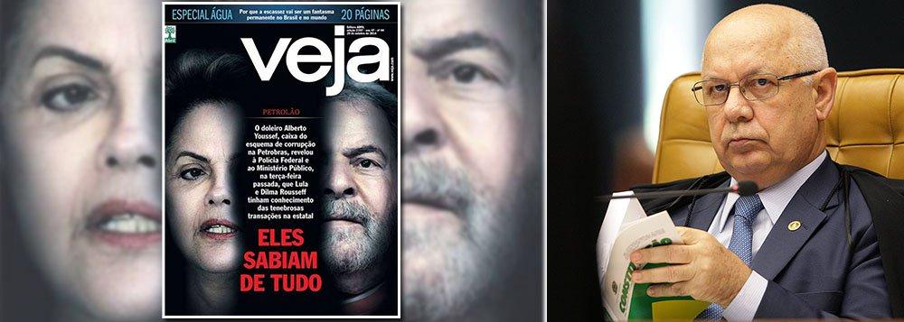 Partido pedia investigação contra a revista para apurar vazamento de trechos de depoimento atribuído a Alberto Youssef, que delatou esquema de corrupção em acordo de delação premiada, sob segredo de Justiça; segundo a revista, o doleiro declarou que a presidente Dilma e o ex-presidente Lula sabiam de todo o esquema; decisão foi do ministro Teori Zavascki