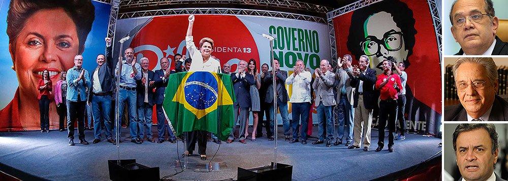"""""""Às voltas com uma oposição agressiva, capaz de estimular passeatas que falam em impeachment e pedem intervenção militar, num ambiente pesado no qual o ex-presidente Fernando Henrique Cardoso permite-se questionar a 'legitimidade' de seu mandato, Dilma livrou-se de um constrangimento — a mancha política de ser empossada com as finanças de campanha sob suspeita"""", diz o jornalista Paulo Moreira Leite, diretor do 247 em Brasília; """"A vitória de Dilma foi valorizada, em particular, pelo desempenho de um personagem principal: o relator Gilmar Mendes, ministro que desde 2012, no julgamento da AP 470, tem-se destacado pela caráter ideológico de seus votos contra o PT"""""""